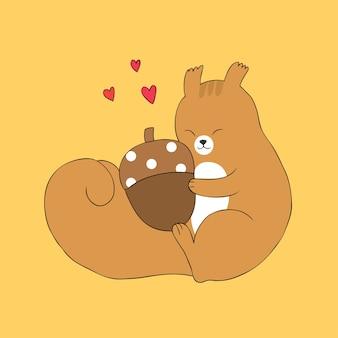 Dessin animé mignon automne écureuil câlin vecteur de gland.