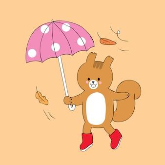 Dessin animé mignon automne écureuil et vecteur de parapluie.