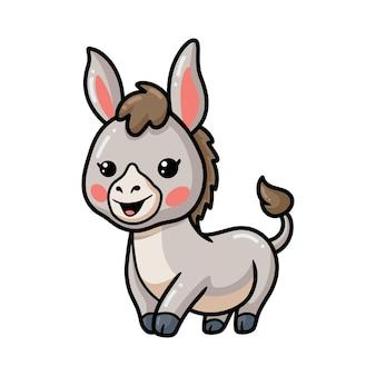 Dessin animé mignon bébé âne heureux