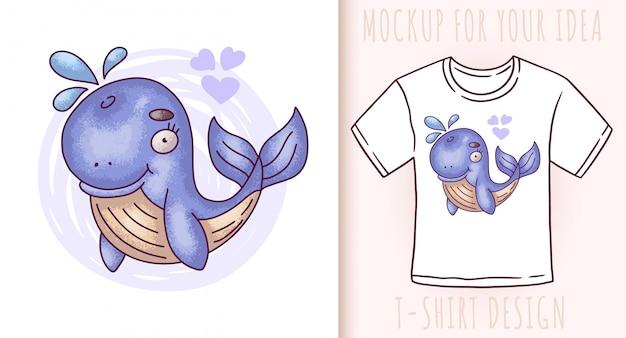 Dessin animé mignon bébé baleine bleue.