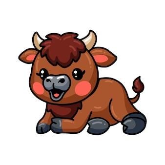 Dessin animé mignon bébé bison fixant
