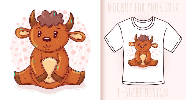 Dessin animé mignon bébé bison t-shirt design