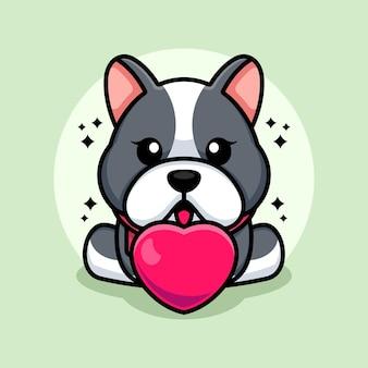 Dessin animé mignon bébé bulldog avec amour