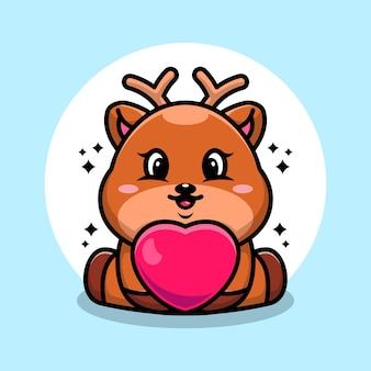 Dessin animé mignon bébé cerf avec amour