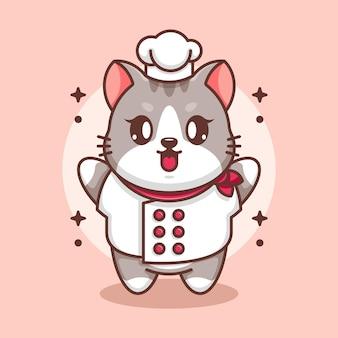 Dessin animé mignon bébé chat chef