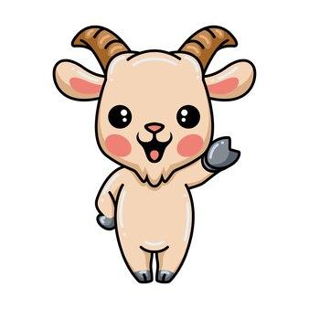 Dessin animé mignon bébé chèvre agitant la main