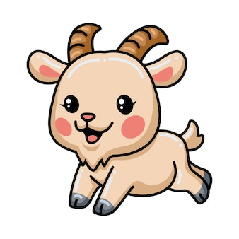 Dessin animé mignon bébé chèvre en cours d'exécution