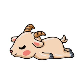 Dessin animé mignon bébé chèvre endormi