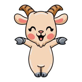 Dessin animé mignon bébé chèvre levant les mains