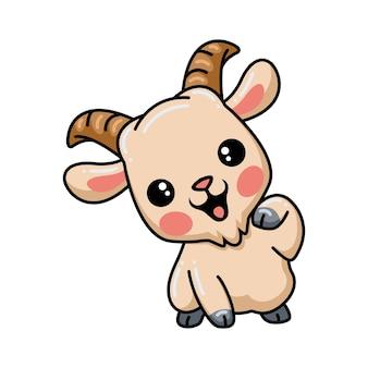 Dessin animé mignon bébé chèvre posant