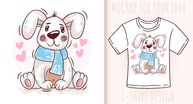 Dessin animé mignon bébé chien chiot t-shirt design