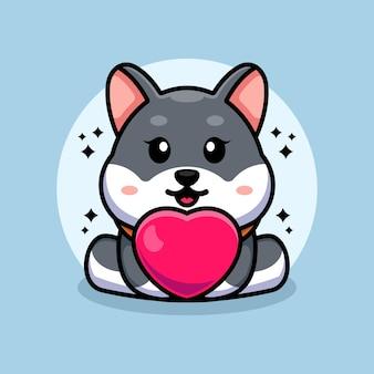 Dessin animé mignon bébé chien husky avec amour