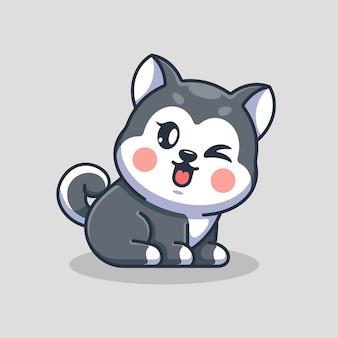Dessin animé mignon bébé chien husky assis
