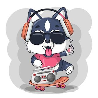 Dessin animé mignon bébé chien husky avec illustration de planche à roulettes