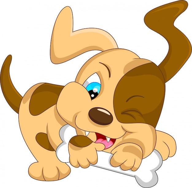 Dessin animé mignon bébé chien avec os