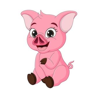 Dessin animé mignon bébé cochon assis