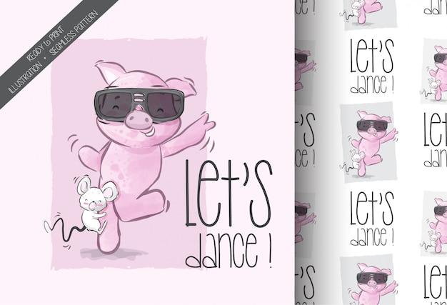 Dessin animé mignon bébé cochon heureux danse transparente motif