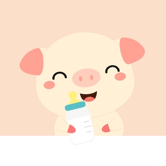 Dessin animé mignon bébé cochon. illustration aquarelle de vecteur.