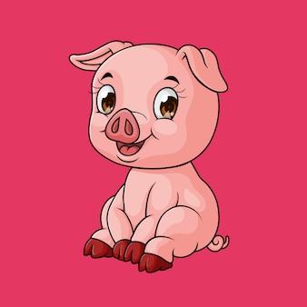 Dessin animé mignon bébé cochon souriant, dessiné à la main, vecteur