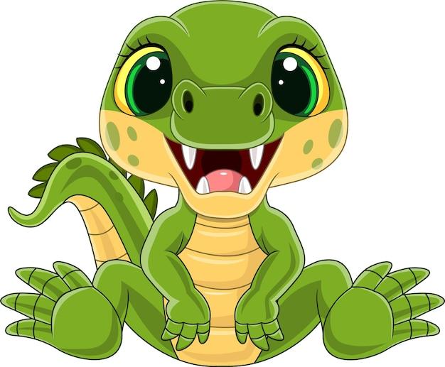 Dessin animé mignon bébé crocodile assis