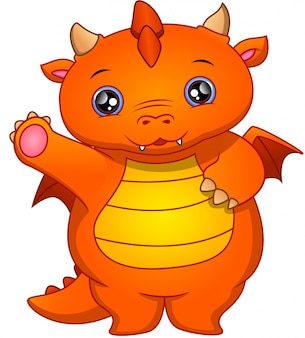 Dessin animé mignon bébé dragon agitant