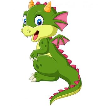Dessin animé mignon bébé dragon sur fond blanc