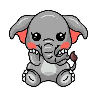 Dessin animé mignon bébé éléphant assis