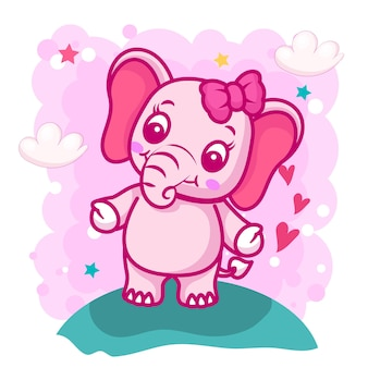 Dessin animé mignon bébé éléphant pour les enfants
