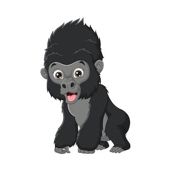 Dessin animé mignon bébé gorille isolé sur fond blanc