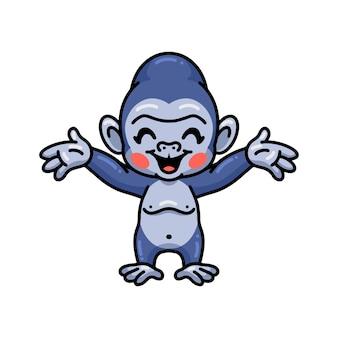 Dessin animé mignon bébé gorille levant les mains