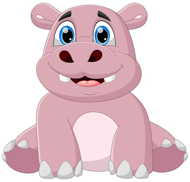 Dessin animé mignon bébé hippopotame