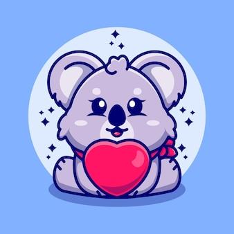 Dessin animé mignon bébé koala avec amour