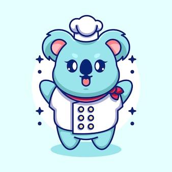 Dessin animé mignon bébé koala chef