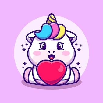 Dessin animé mignon bébé licorne avec amour