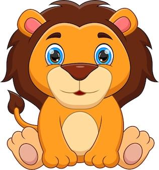 Dessin animé mignon bébé lion sur fond blanc