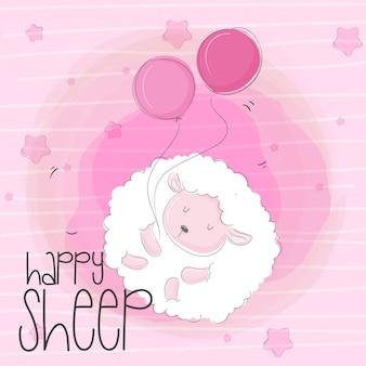 Dessin animé mignon de bébé mouton volant