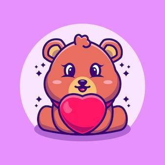 Dessin animé mignon bébé ours avec amour