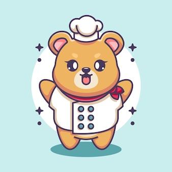 Dessin animé mignon bébé ours chef
