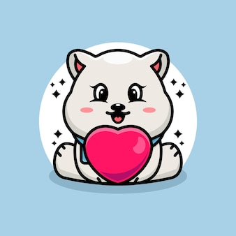 Dessin animé mignon bébé ours polaire avec amour