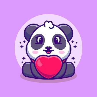 Dessin animé mignon bébé panda avec amour