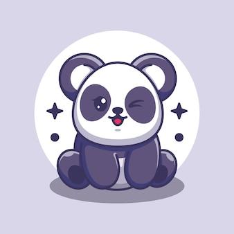 Dessin animé mignon bébé panda assis