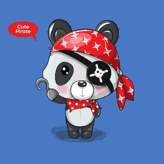 Dessin animé mignon bébé panda en costume de pirate