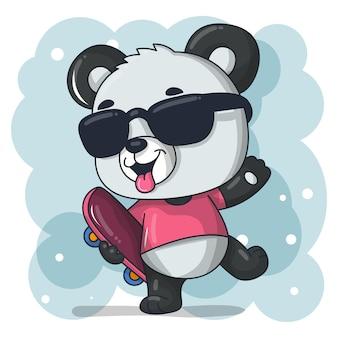 Dessin animé mignon bébé panda avec illustration de planche à roulettes
