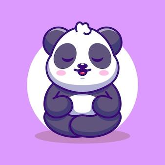 Dessin animé mignon bébé panda méditation