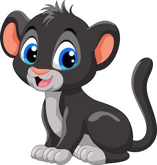 Dessin animé mignon bébé panthère noire