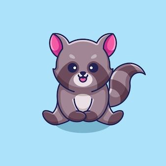 Dessin animé mignon bébé raton laveur assis