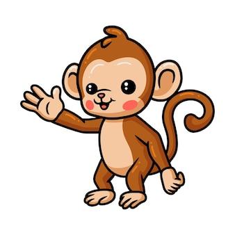 Dessin animé mignon bébé singe agitant la main