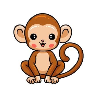 Dessin animé mignon bébé singe assis