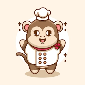 Dessin animé mignon bébé singe chef