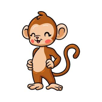 Dessin animé mignon bébé singe posant